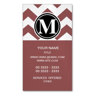 Marsala Chevron con monograma Tarjetas De Visita Magnéticas (paquete De 25)