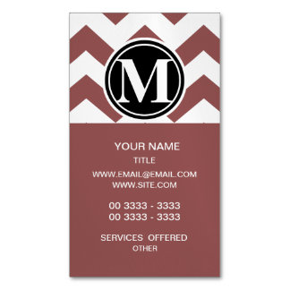 Marsala Chevron Monogrammed Business Card Magnet