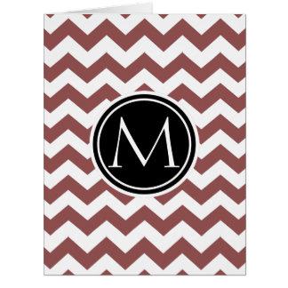 Marsala Chevron Monogrammed Card