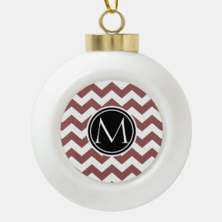 Marsala Chevron Monogrammed Ceramic Ball Christmas Ornament