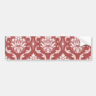 Marsala Classic Damask Pattern Bumper Sticker
