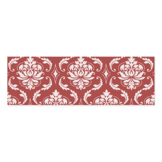 Marsala Classic Damask Pattern Double-Sided Mini Business Cards (Pack Of 20)