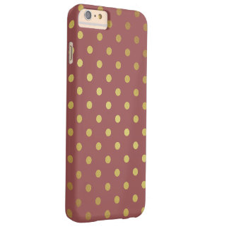 Marsala - Color of the Year 2015 - Gold Polka Dots Barely There iPhone 6 Plus Case