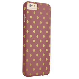 Marsala - Color of the Year 2015 - Gold Polka Dots iPhone 6 Plus Case
