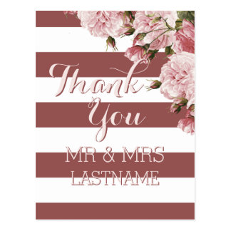 Marsala color Thank You postcards Personalized