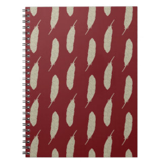 Marsala Faux Gold Glitter Feather Pattern Notebook