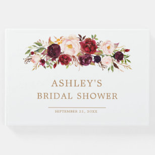 marsala floral autumn bridal shower guest book