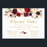 """Marsala Floral Autumn Gold Rehearsal Dinner Card<br><div class=""""desc"""">Marsala Floral Autumn Gold Rehearsal Dinner Card Add custom text to the back to provide any additional information needed for your guests.</div>"""