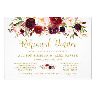 Marsala Floral Autumn Gold Rehearsal Dinner Card