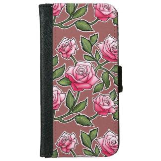 Marsala - floral color de rosa funda cartera para iPhone 6