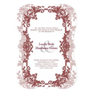 "Marsala Floral Frame Wedding Invitation 5"" X 7"" Invitation Card"