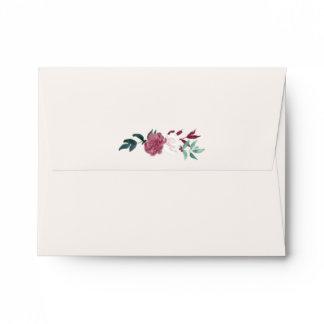 Marsala Floral Navy & Beige Printed Address RSVP Envelope