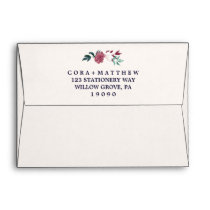Marsala Floral & Navy Confetti Wedding Invitation Envelope