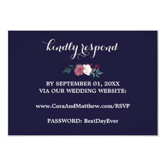 Marsala Floral on Navy Blue Wedding Website RSVP Card