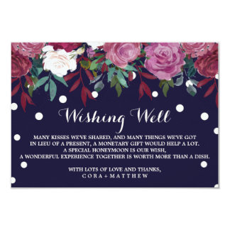 Marsala Floral on Navy Blue Wedding Wishing Well Card