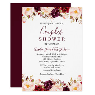 Marsala Floral Red Burgundy Couples Shower Invitation
