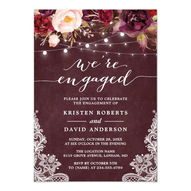 Marsala Floral String Lights Lace Engagement Party Card