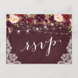 "Marsala Floral String Lights Lace Wedding RSVP Invitation Postcard<br><div class=""desc"">Create your own Response Card with this &quot;Marsala Floral String Lights Lace Rustic Wedding RSVP Postcard&quot; template to match your wedding style, colors and theme. It&#39;s easy to customize it to be uniquely yours! (1) For further customization, please click the &quot;customize further&quot; link and use our design tool to modify...</div>"