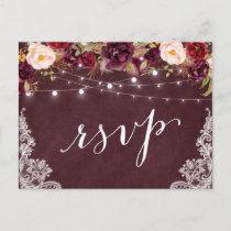 Marsala Floral String Lights Lace Wedding RSVP Invitation Postcard