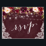 "Marsala Floral String Lights Lace Wedding RSVP Postcard<br><div class=""desc"">Create your own Response Card with this &quot;Marsala Floral String Lights Lace Rustic Wedding RSVP Postcard&quot; template to match your wedding style, colors and theme. It&#39;s easy to customize it to be uniquely yours! (1) For further customization, please click the &quot;customize further&quot; link and use our design tool to modify...</div>"