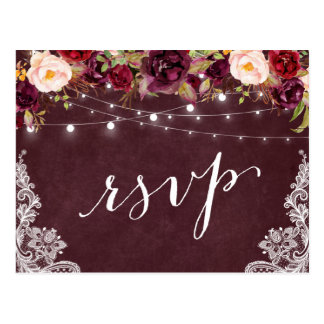 Marsala Floral String Lights Lace Wedding RSVP Postcard