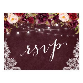 Marsala Floral String Lights Lace Wedding RSVP Postcard