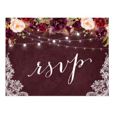 CardHunter Marsala Floral String Lights Lace Wedding RSVP Postcard