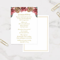Marsala Floral Wedding accommodation cards