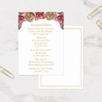 Marsala Floral Wedding accommodation cards