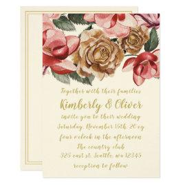 Marsala Floral Wedding Invitations