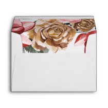Marsala Floral Wedding Invitation Envelope