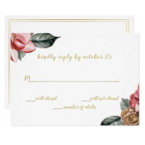 Marsala Floral Wedding Invitation rsvp