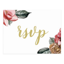 Marsala Floral Wedding rsvp Postcard