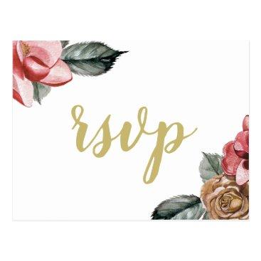 Marsala Floral Wedding rsvp Postcard