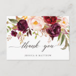 """Marsala Floral Wedding Thank You 2-Side3<br><div class=""""desc"""">Clicking the &quot;Customize it&quot; button will allow you to change color of the font and position the words as you want.</div>"""