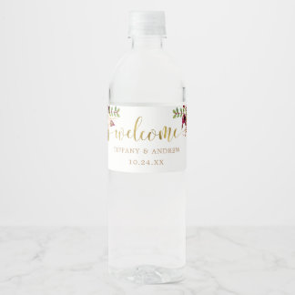 Marsala Floral Wedding Welcome Water Bottle Label