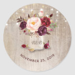 "Marsala Flowers Mason Jar Rustic Wedding Classic Round Sticker<br><div class=""desc"">Burgundy floral mason jar wedding seal</div>"