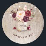"Marsala Flowers Mason Jar Rustic Wedding Classic Round Sticker<br><div class=""desc"">Burgundy floral mason jar wedding seal</div>"
