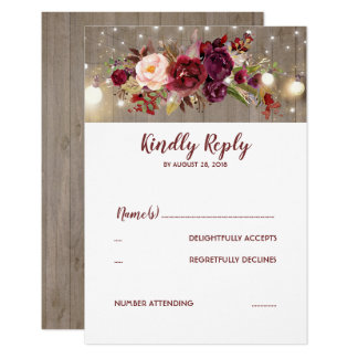 Marsala Flowers Rustic Wedding RSVP Card