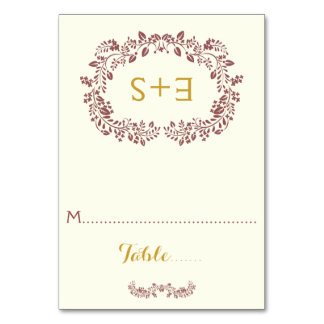 Marsala foliage and initials wedding place card table cards