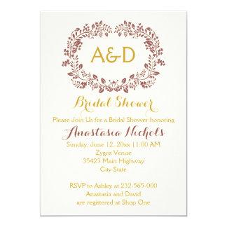 Marsala foliage & initials wedding bridal shower card