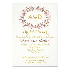 Marsala foliage & initials wedding bridal shower 5