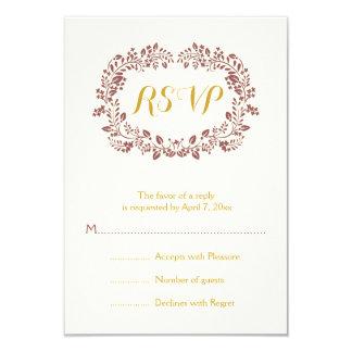 Marsala foliage wreath frame wedding RSVP Card