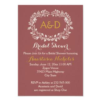 Marsala foliage wreath wedding bridal shower card