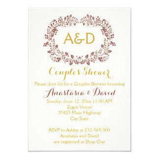 Marsala foliage wreath wedding couples shower card