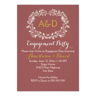 Marsala foliage wreath wedding engagement party card
