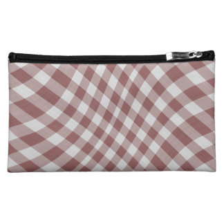 Marsala Gingham Check Geometric Pattern Wave Cosmetic Bag