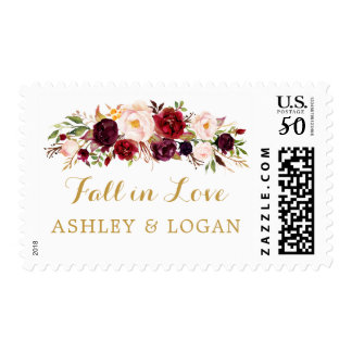 Marsala Gold Floral Fall In Love Wedding Postage