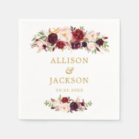 Marsala Gold Red Flowers Monogram Wedding Napkin