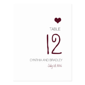 Marsala Heart Table Number Pink and Mint Postcard